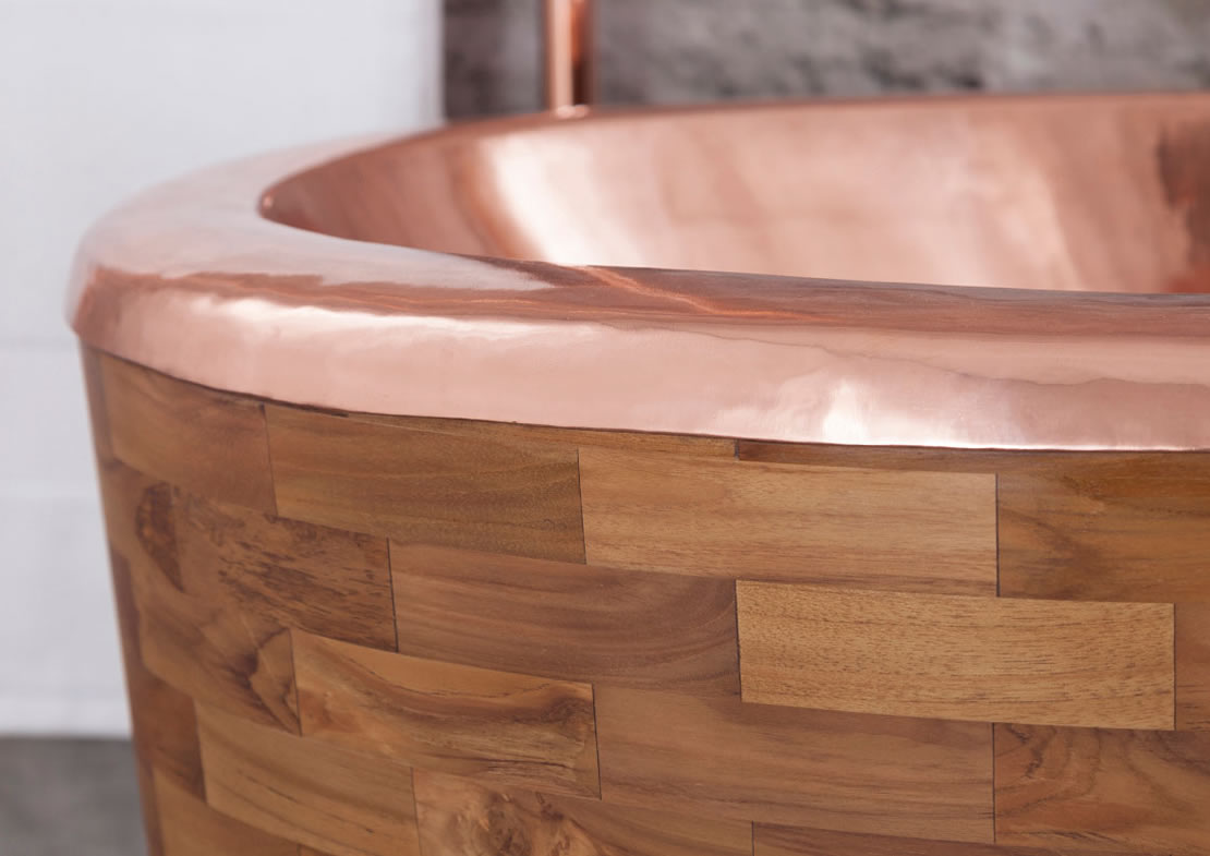 sampan copper bath teak exterior copper top Thumb