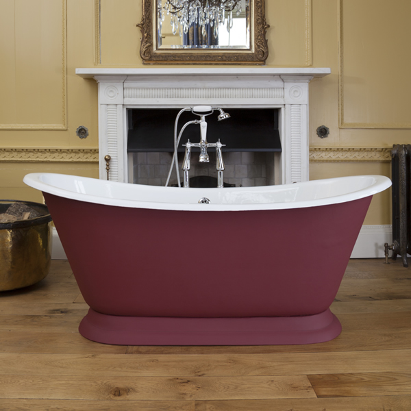 galleon cast iron bath scarlet leather exterior