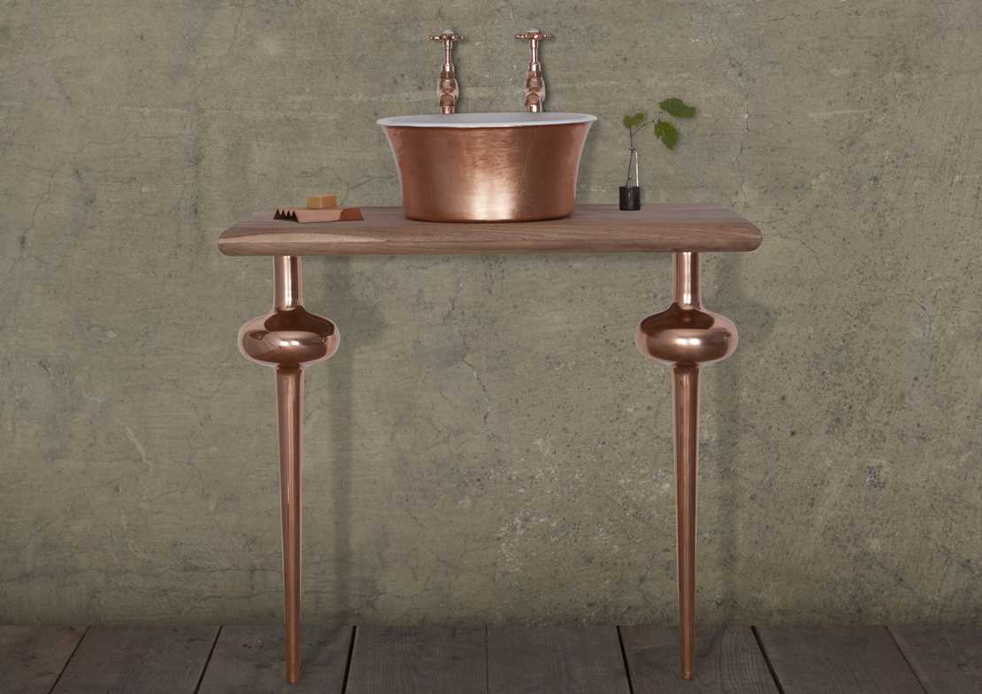 copper globe legs pair