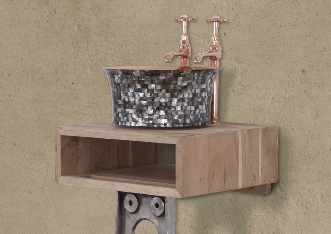 basin cube small weathered acacias