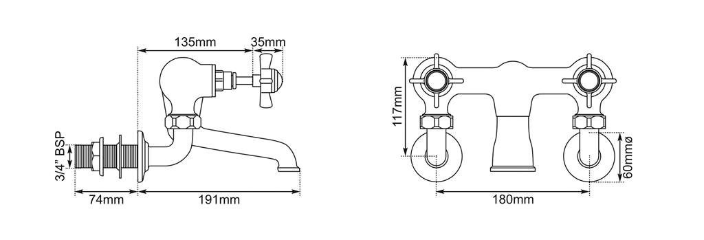 wall mounted bath filler dimensions