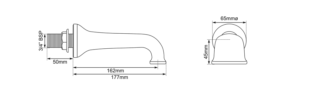 wall mounted bath spout dimensions