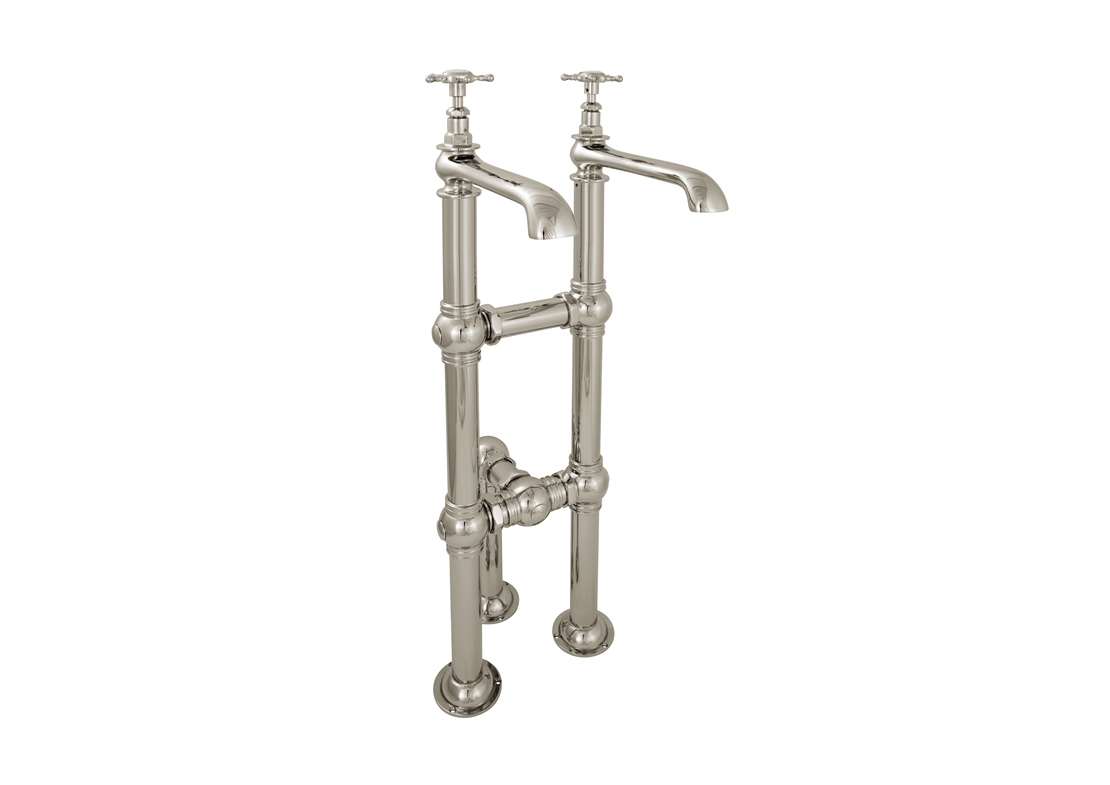 bath taps long spout large tap stand nickel Thumb