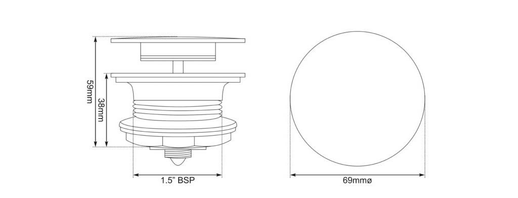 click clack bath waste dimensions