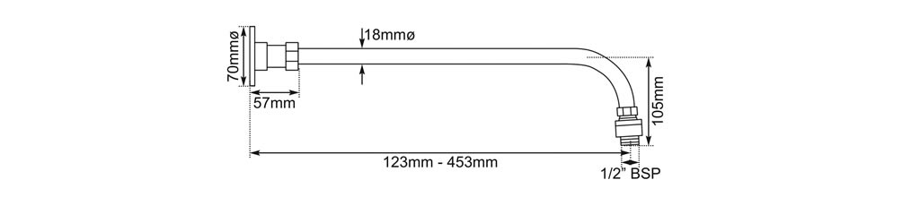 shower arm dimensions