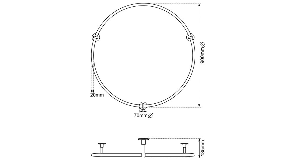 shower rail small dimensions