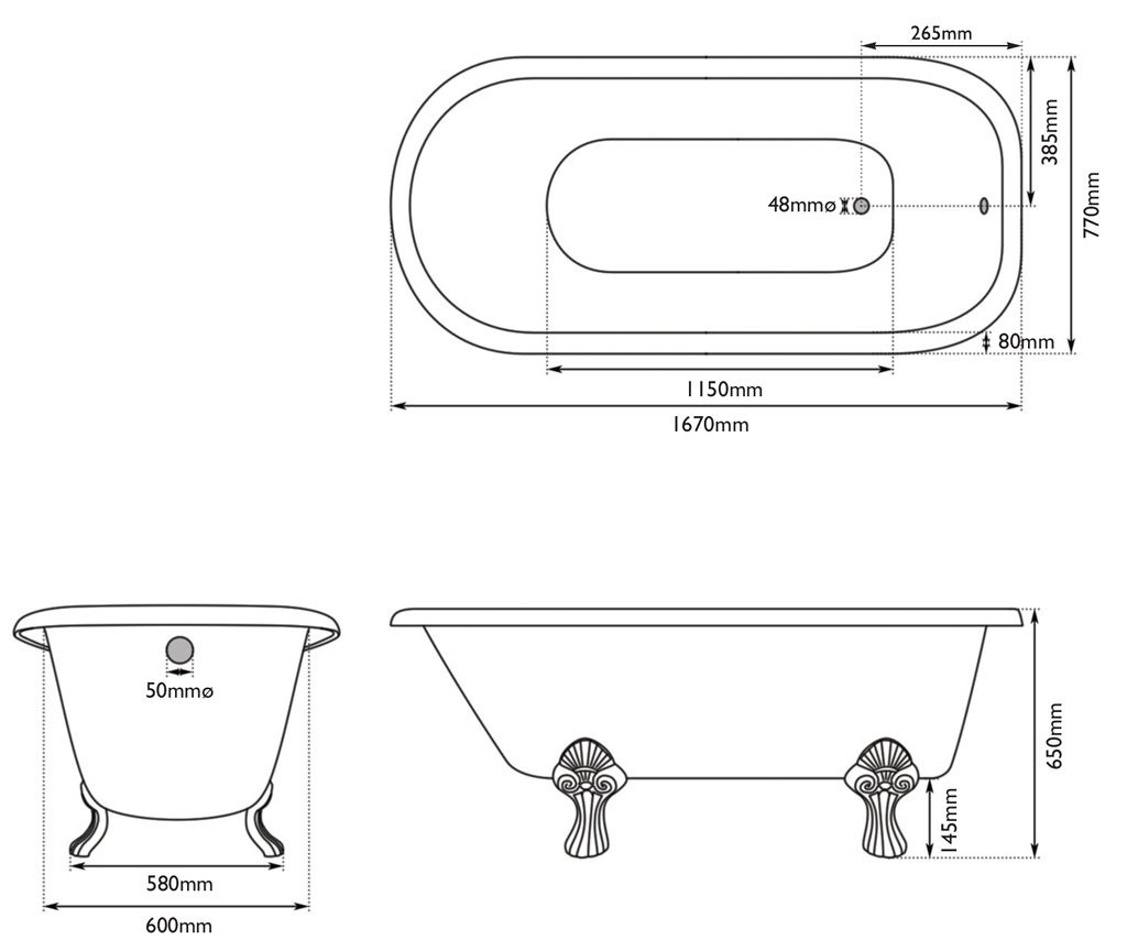milton cast iron bath measurements