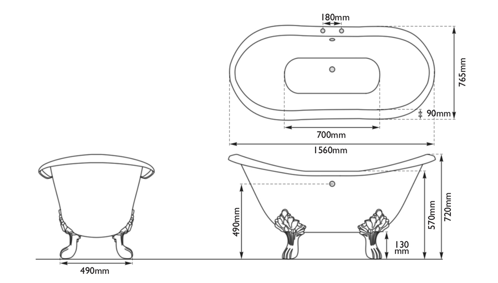 byron cast iron bath dimensions