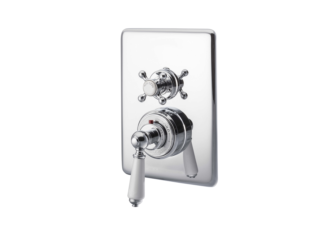 concealed thermostatic shower valve dual control single outlet chrome Thumb