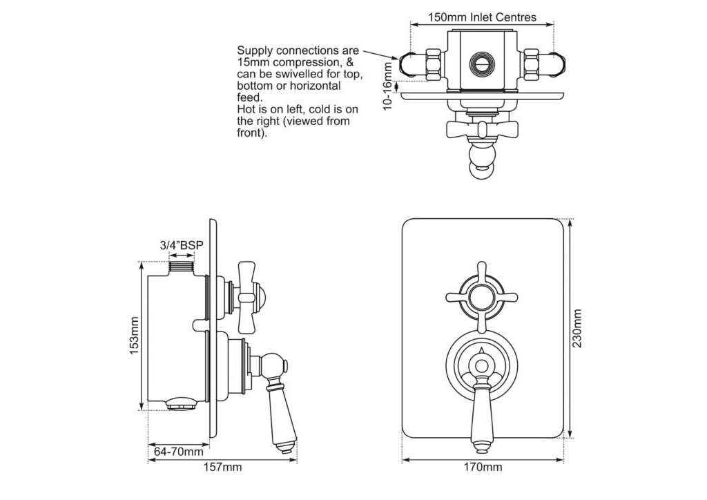 concealed thermostatic shower valve dual control single outlet dimensions