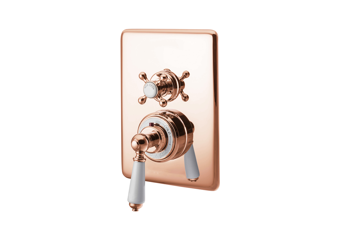 concealed thermostatic shower valve dual control single outlet copper Thumb