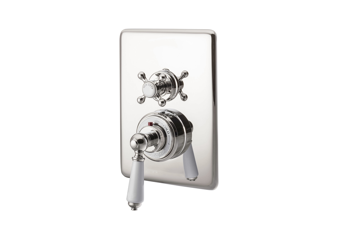 concealed thermostatic shower valve dual control single outlet nickel Thumb