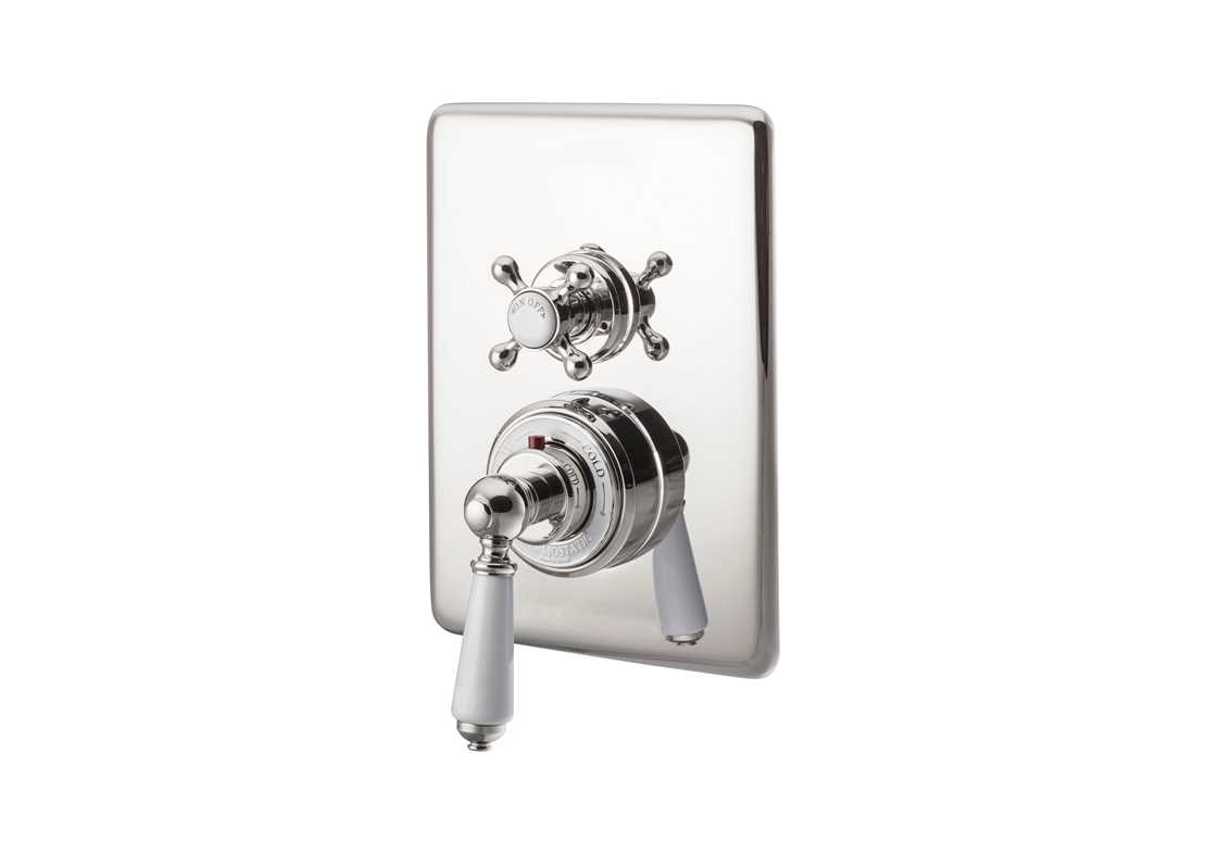 concealed thermostatic shower valve dual control single outlet nickel
