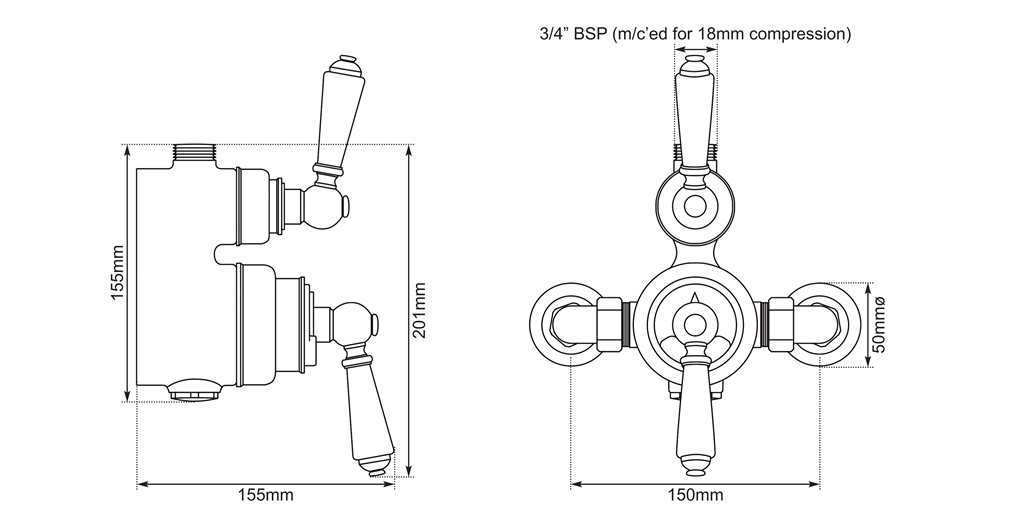 exposed thermostatic shower valve dimensions