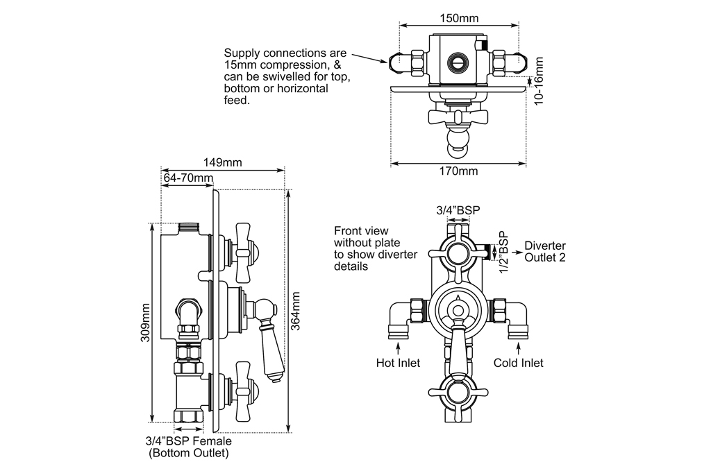 concealed thermostatic shower valve lever dimensions