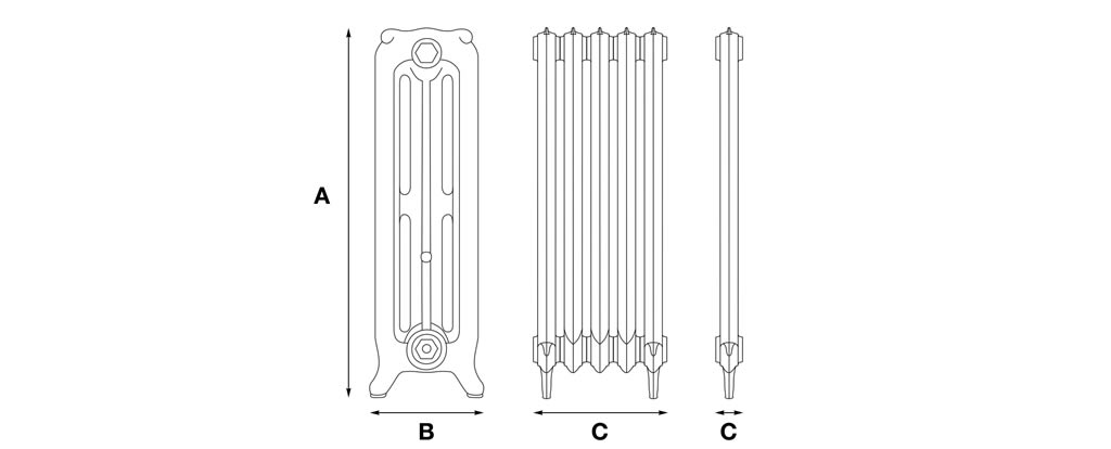 orford 3 column cast iron radiator dimensions