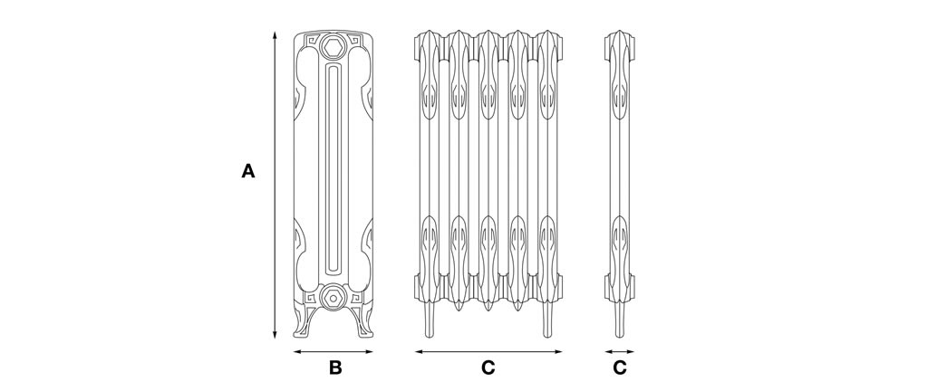 lynford 2 column cast iron radiator dimensions