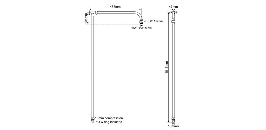shower arm riser rail dimensions
