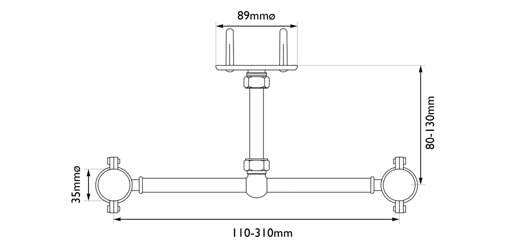 stand pipe support bracket measurements