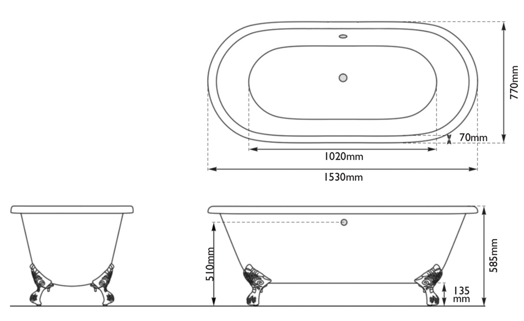 dryden small cast iron baths measurements