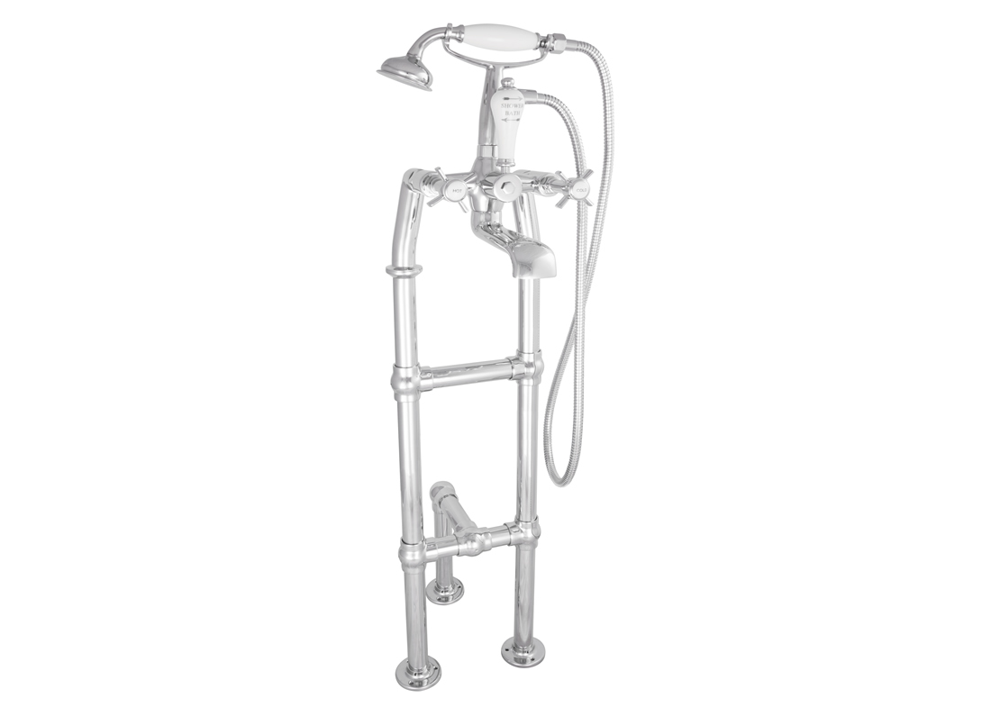freestanding bath mixer taps chrome with support 700mm Thumb