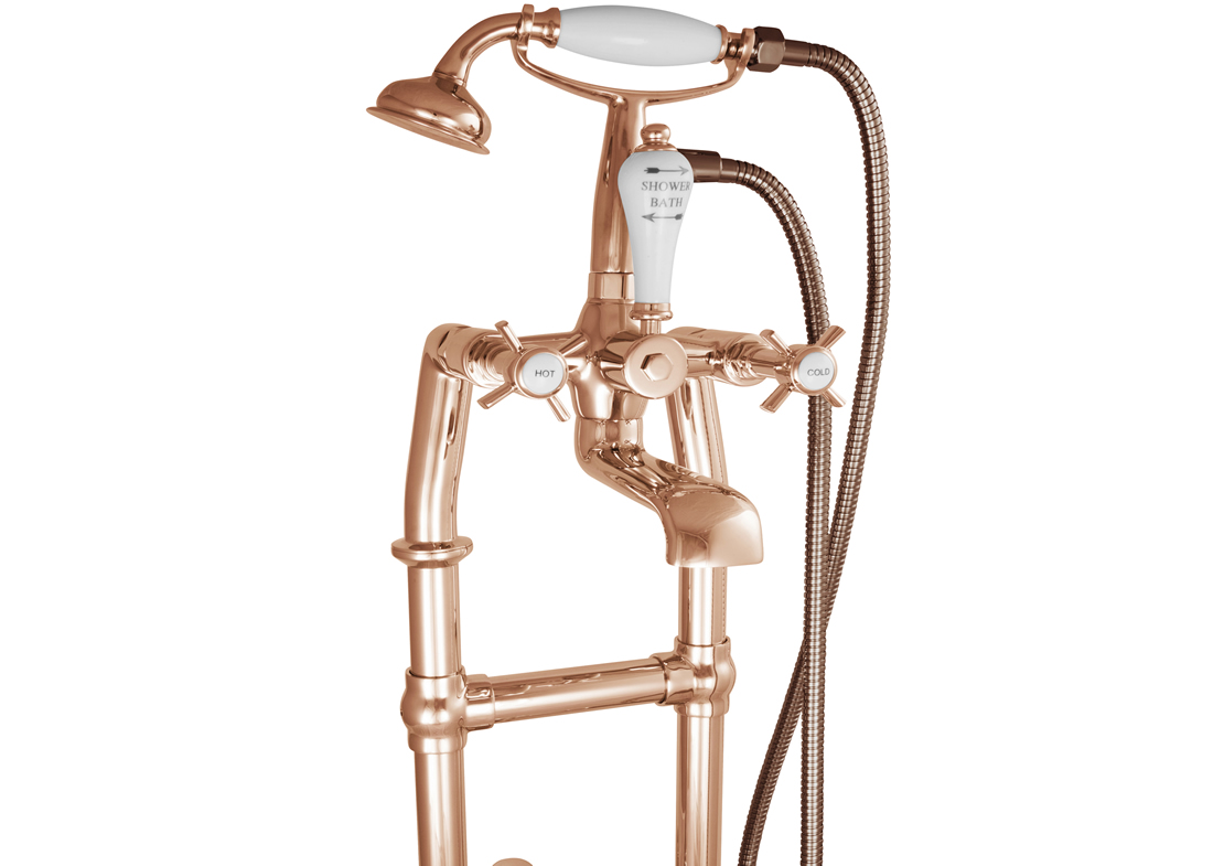 freestanding bath mixer taps copper with support 580mm detail Thumb
