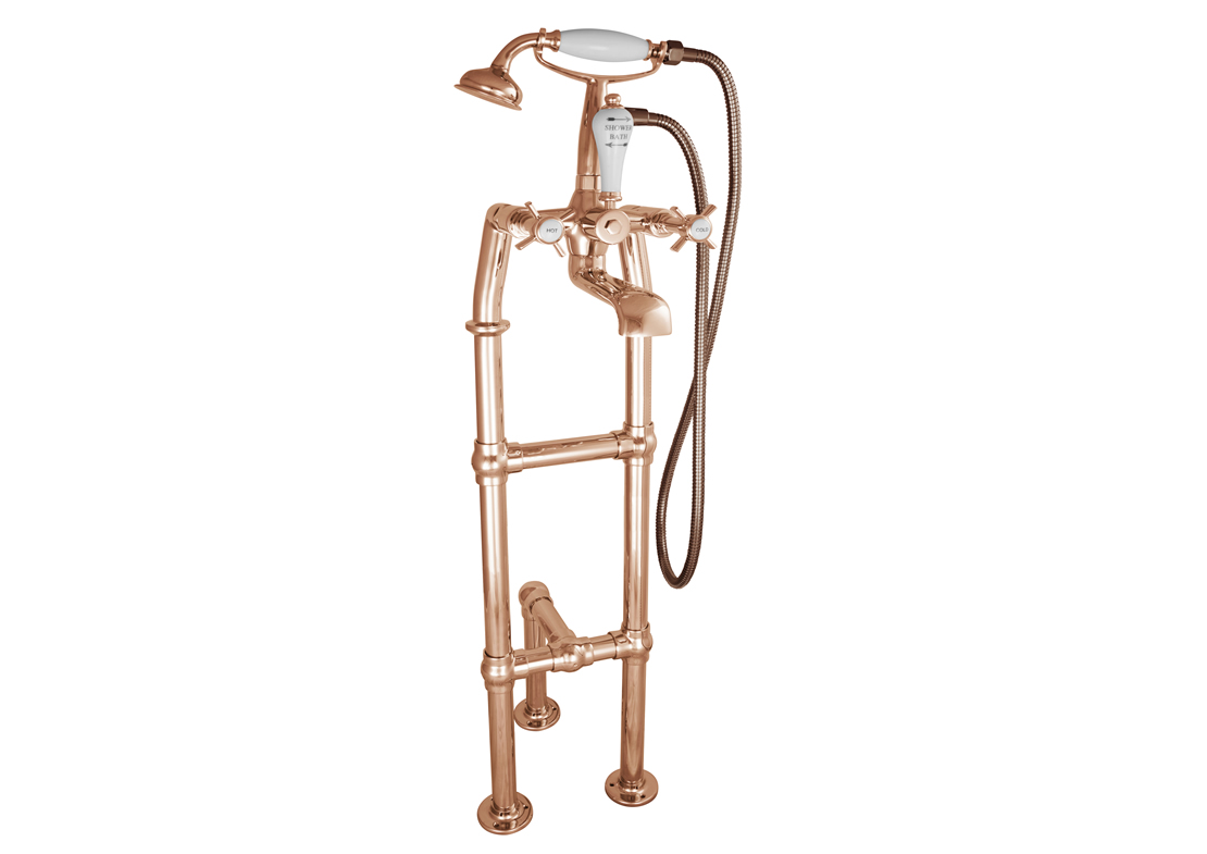 freestanding bath mixer taps copper with support 700mm Thumb