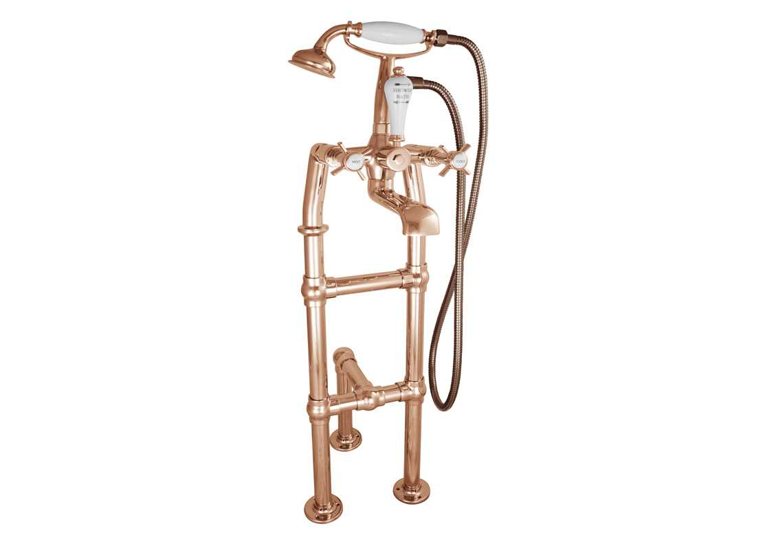 freestanding bath mixer taps copper with support 580mm